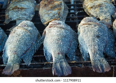 Tilapia, Grilled tilapia,Grilled tilapia on the grill,Tilapia in the Market.