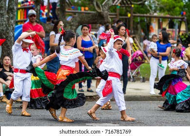 Tilaran, Costa Rica - September 15 : Young children celebrating independence day in Costa Rica with traditional clothing and dancing. September 15 2017, Tilaran Costa Rica.