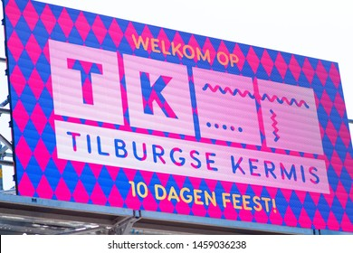 Tilburg, Netherlands - 22,07.2019: Tilburgse kermis banner on the street during kermis, pink monday 2019 in Tilburg - illustrative editorial