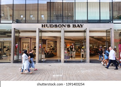 TILBURG, NETHERLANDS - AUGUST 16, 2018: Entrance of Hudson's Bay department store, a chain of 90 super stores that operate in Canada and the Netherlands.