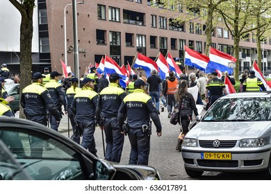 TILBURG - THE NETHERLANDS - May 7: The anti-Islamic movement Pegida met in Tilburg to argue against the construction of a new mosque for Moroccan Muslims in Tilburg on May 7, 2017.