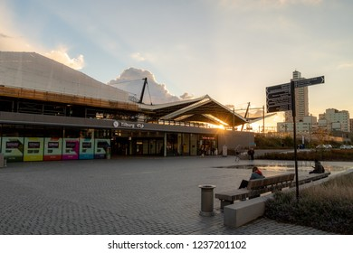 TILBURG, THE NETHERLANDS - OKTOBER 27, 2018: Tilburg Central station under construction, with some people hanging out there.