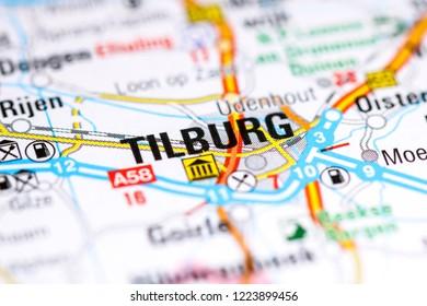 Tilburg. Netherlands on a map