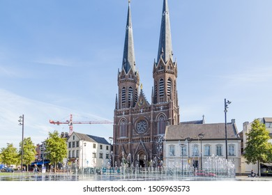 Tilburg Netherlands - September 10, 2019: Saint Joseph Church with water fountains in front in the historic centre of Tilburg in Brabant Netherlands,