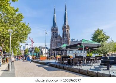 Tilburg Netherlands - September 10, 2019: Saint Joseph Church with terraces in front in the historic centre of Tilburg in Brabant Netherlands,