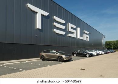TILBURG, NETHERLANDS - SEPTEMBER 25, 2016: Tesla Motors Assembly Plant in Tilburg, Netherland. Tesla car.