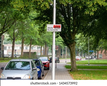 Tilburg, Noord-Brabant/the Netherlands - 06 26 2019: Neighborhood watch sign in Dutch, on a lamppost on a street.