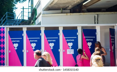 Tilburg, Nord Brabant, Netherlands, 22.07.2019r - Pink monday / roze maandag. Toilet for womens and gender neutral persons
