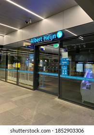 Tilburg, North Brabant / Netherlands - November 8, 2020: Albert Heijn to go supermarket store at Tilburg train station.