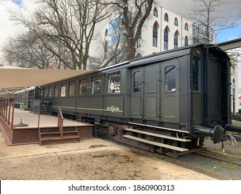 Tilburg, North Brabant, Netherlands - November 12, 2020: restaurant Wagon (Eetbar De Wagon) at Tilburg city centre. This restaurant is in old train wagons, cars.
