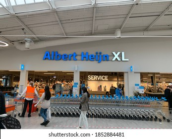 Tilburg, North Brabant / Netherlands - October 23, 2020: Albert Heijn XL (AH XL) grocery food store at the shopping mall at Tilburg city centre.
