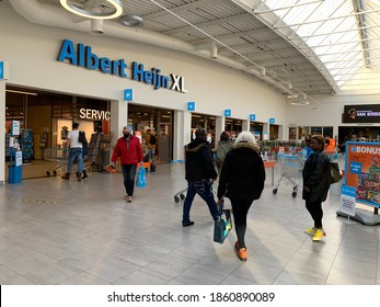Tilburg, North Brabant, Netherlands - October 23, 2020: Albert Heijn XL (AH XL) grocery food store at the shopping mall at Tilburg city centre.