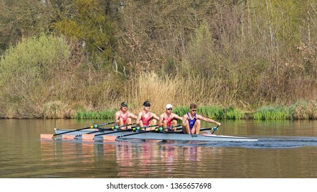 TILBURG-APRIL 7, 2019. A student rowing club Vidar male team in a four seat regatta in a tranquil Wilhelmina canal. Over the last decades, several Vidar members have reached the Olympic level.