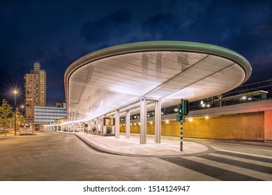 TILBURG-NETHERLANDS-SEPT. 9, 2019. The recently renewed central bus station is much more modern than its predecessor with a substantial canopy equipped with solar panels that provide the lighting.