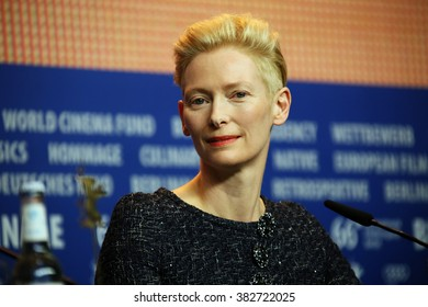 Tilda Swinton attends the 'Hail, Caesar!' press conference during the 66th Berlinale International Film Festival Berlin at Grand Hyatt Hotel on February 11, 2016 in Berlin, Germany.