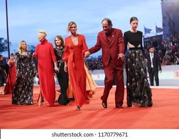 Tilda Swinton, Jessica Harper, Luca Guadagnino, Mia Goth walks the red carpet ahead of the 'Suspiria' screening during the 75th Venice Festival at Sala Grande on September 1, 2018 Venice? Italia