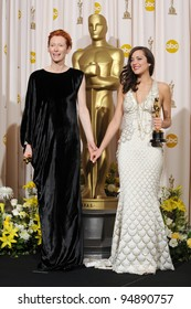 Tilda Swinton & Marion Cotillard at the 80th Annual Academy Awards at the Kodak Theatre, Hollywood. February 24, 2008 Los Angeles, CA Picture: Paul Smith / Featureflash