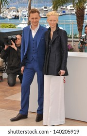 """Tilda Swinton & Tom Hiddleston at photocall at the 66th Festival de Cannes for their movie """"Only Lovers Left Alive"""". May 25, 2013  Cannes, France"""