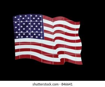 tile american flag black background