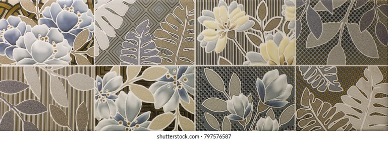 tile, ceramic floral abstract pattern