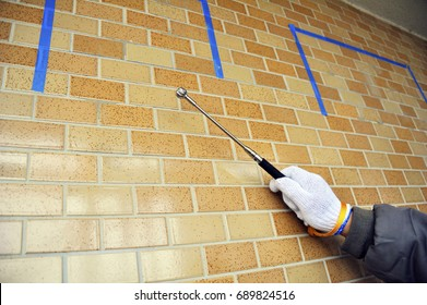 Tile construction: Tile inspection delamination with Diagnosing a percussion stick