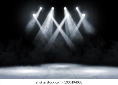 Tile floor with concert spot lighting and smoke over dark background