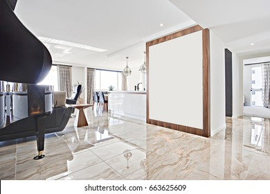 Tile floor including shiny look close to wall, living room with luxury furniture, walls are white, flower vase near window