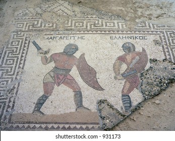 tile mosaic of gladiators