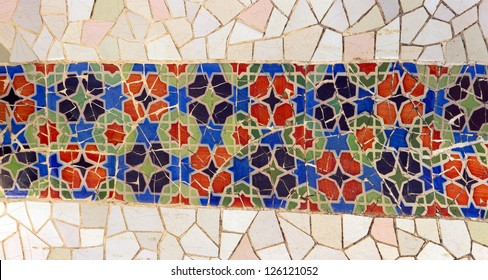 tile mosaic wall in park city Barcelona designed by Antoni Gaudi