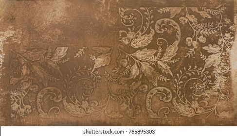 tile, ornamental pattern with leaves