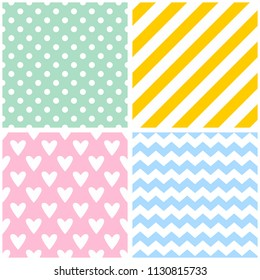 Tile pattern with chevron zig zag, polka dots, hearts and stripe background