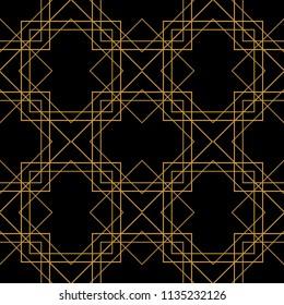 Tile pattern with golden ornament frame on black background