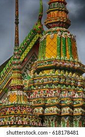 tile pattern on stupa and roof of Buddhist temple in Bangkok Thailand