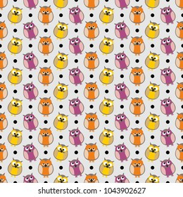Tile pattern with owls and dots on grey background