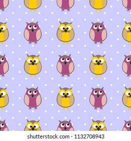 Tile pattern with owls and dots on pastel background