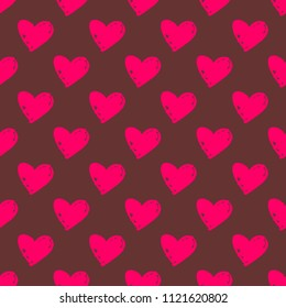 Tile pattern with pink hearts on brown background