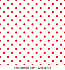 Tile pattern with red polka dots on white background