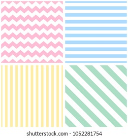 Tile pattern set with white strips on pink, yellow, green and blue background