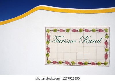 """tile plaque at south of Portugal: """"Turismo rural"""".  """"rural tourism"""""""