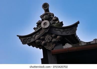 Tile roof of Udatsu Wall Historical District, Mino City, Gifu Prefecture