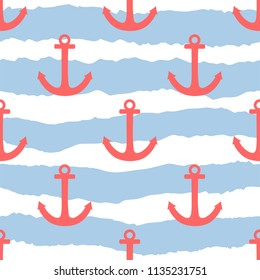 Tile sailor pattern with pink anchor on navy blue stripes background