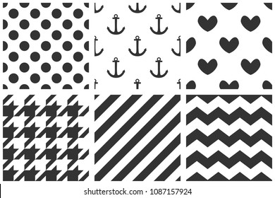 Tile sailor pattern set with black polka dots, anchor, hearts, houndstooth zig zag and stripes on white background
