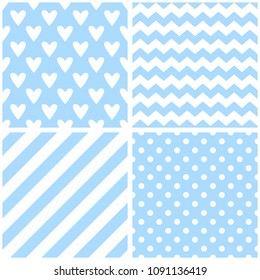 Tile vector pattern with chevron zig zag, hearts, polka dots and stripe background