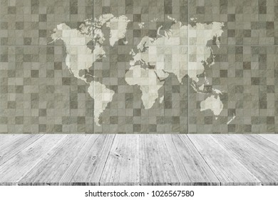Tile wall texture background surface natural color, with white wood terrace and world map