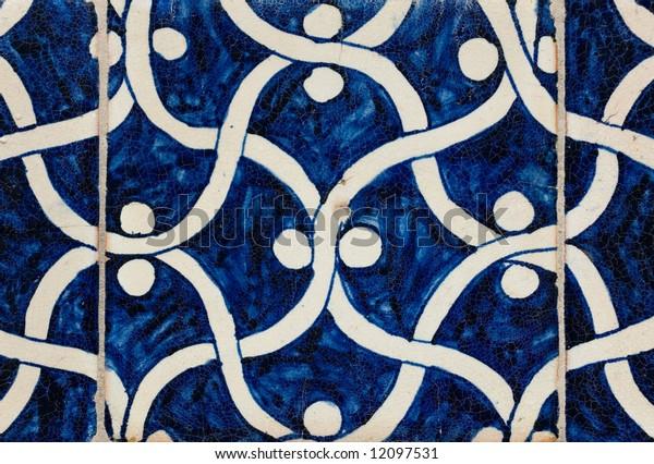 Tiled background, oriental ornaments from Uzbekistan