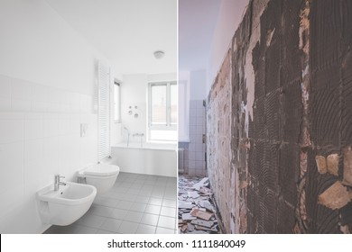 tiled bathroom renovation  -  before and after restoration