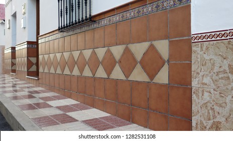 Tiled front wall on house Andalusian village house