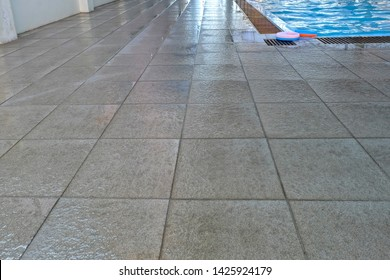 Tiled non slip pool close-up Photography.