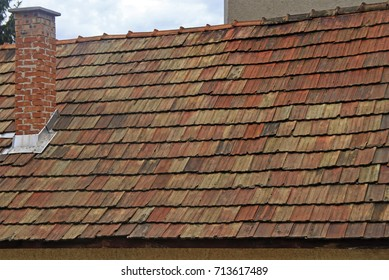 tiled roof of building in Eger, Hungary