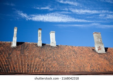 tiled roof with chimneys